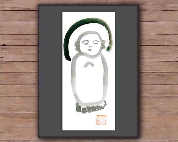 zen decor nursery art Zen Fine Art Sumi-e ink Painting yoga japan Baby Buddha spiritual art japan scroll style childs room art Jizo