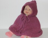Hand knit baby cape. Mauve wool. Girl 39 s poncho with hood. Newborn to 18 months. Baby Shower gift. Baby car seat wrap. Handmade. Photo Prop