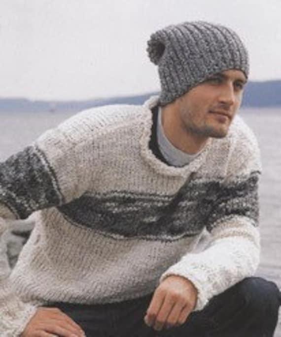 Knit hat Mens hat Slouchy beanie Handmade of alpaca Light dark  a1746ca8ce9