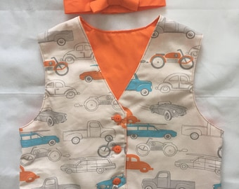 Vintage Cars Vest and Bow Tie
