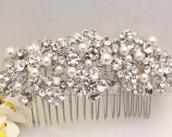 Bridal Comb Vine Leaf hair comb pearl rhinestone Wedding Hair Accessories,Bridal hair comb pearl Wedding hair comb silver hair comb crystal