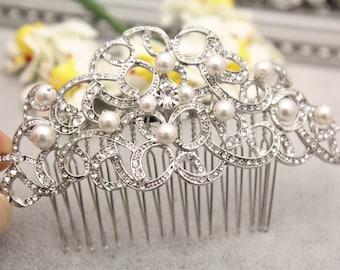 Vintage inspired Pearl Bridal comb,Wedding hair accessories,Bridal hair clip,Wedding hair comb,Rhinestone hair piece,Boho Wedding hair vine