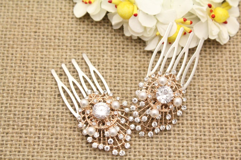 Wedding comb for bride Bridal hair accessories boho Wedding hair comb Rose gold Bridal hair comb Small Bridal comb Bridesmaid hair comb boho
