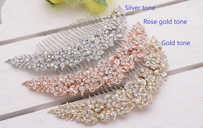 wedding comb gold hair accessories Wedding hair comb Rose gold Bridal hair comb Pearl hair clip Wedding hair jewelry Vintage style Bridal