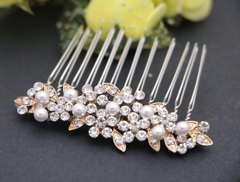 bridal comb small wedding hair comb pearl hair pins Wedding hair accessories Boho hair pins Rhinestone hair pins Wedding hair comb Bridal