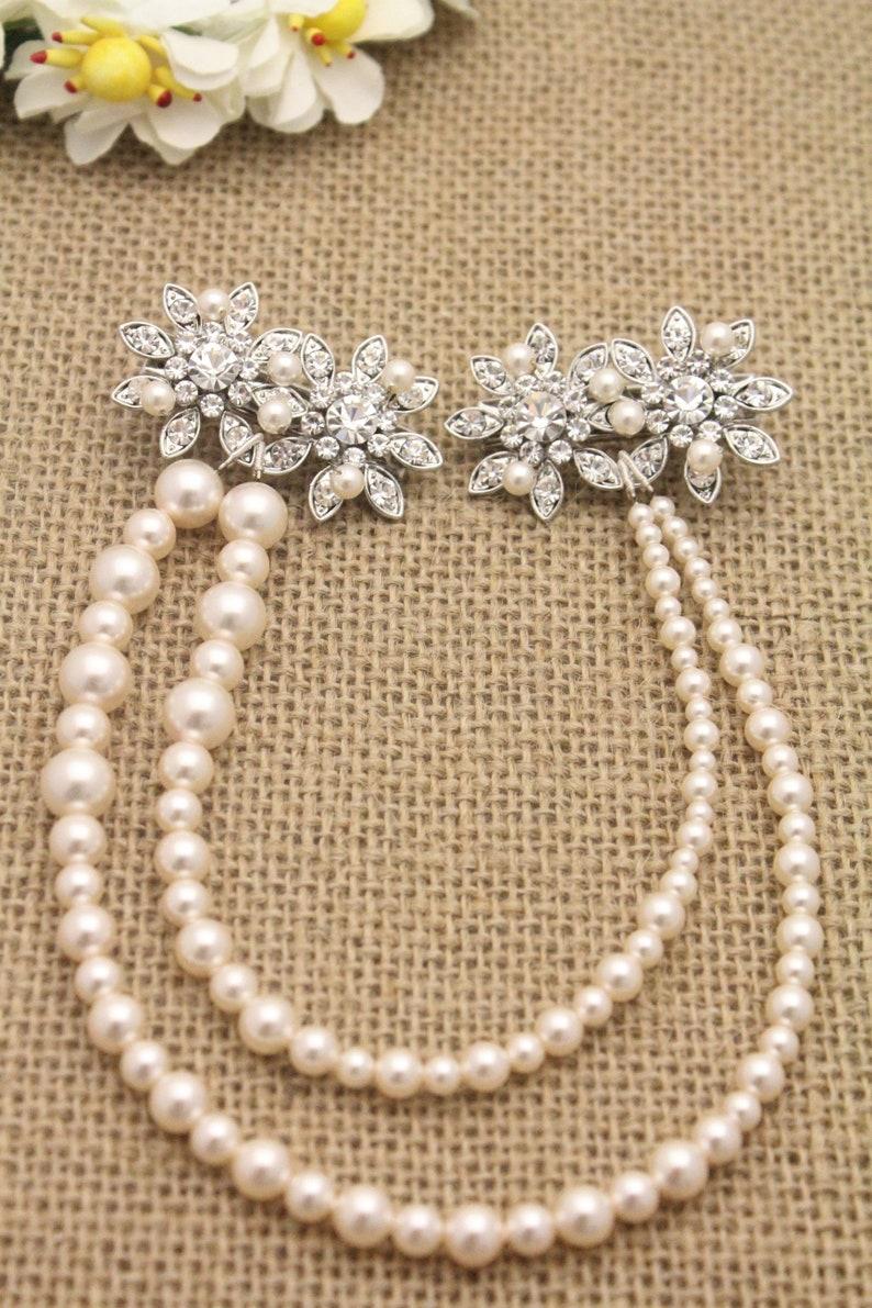 Wedding Hair Accessory,Bridal Hair Comb,Vintage Style Bridal Hair Accessory,Boho,Grecian,Hair Chain,Crystal Comb,Pearl hair chian,Boho Hair