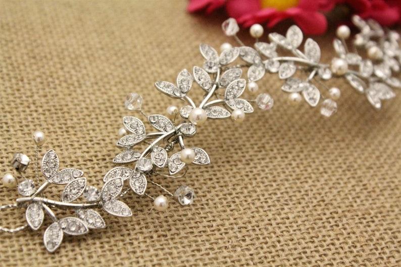 Boho Wire Hair Vine in Silver or Gold,Leaf Bridal Hair Wreath Half Halo,Wedding Pearl Hair Vine Crown,Boho Wedding Headpiece,Bohemian hair