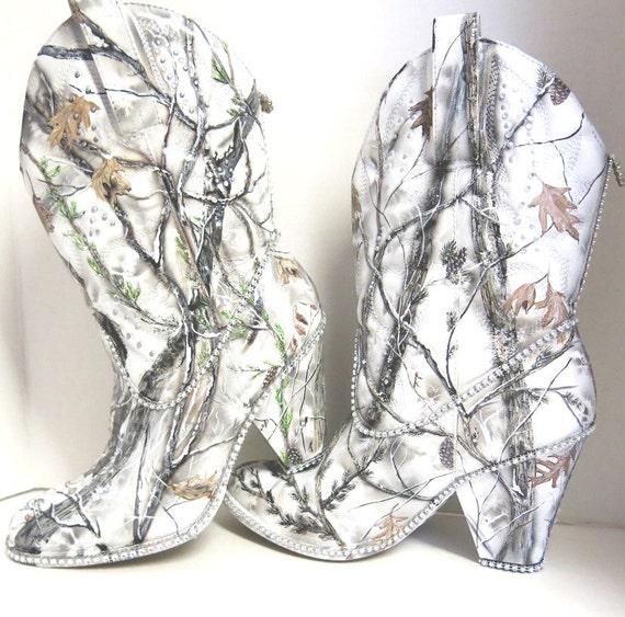 Camo Wedding Reception Ideas: Snow White Camouflage Women's Western Bridal Boots. Hand