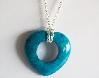 Turquoise Heart Pendant Fossil Stone Necklace