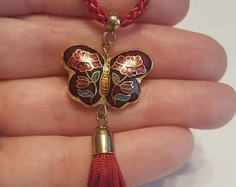 Vintage Cloissone Heart Necklace - 1980s