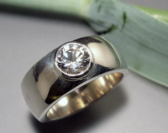 White Topaz Wide Domed Ring, White Topaz Wide Wedding Band, Sterling Silver