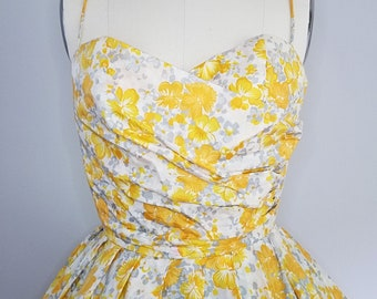 1950s Floral Party Dress by Emma Domb California