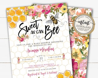 Sweet as can Bee Baby Girl Shower Invitation, Babee Spring Baby Sprinkle Invites, Printable Editable Invite Template