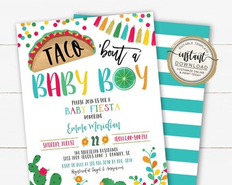 Taco 'bout a Baby Boy Shower Fiesta Invitation, Fiesta Baby Shower Invite, Taco Baby Sprinkle, Editable Invite Template for Baby Shower
