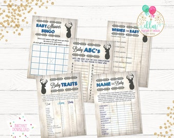 Little Buck Baby Shower Games, Printable Baby Shower Games, Baby Bingo, Baby Traits, Wishes for Baby, DIY Printable Files, Deer Baby Shower
