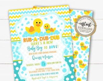 Rub-A-Dub-Dub Baby Shower Invitation, Rubber Duck Baby Boy Invite, Rubber Duck Baby Shower, Editable Template, Rubber Ducks Baby Sprinkle