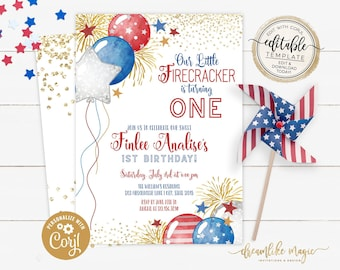 Little Firecracker Invitation, Red White Blue Birthday Party, 4th of July Invitation, Fourth of July Invitation, Printable Editable Digital