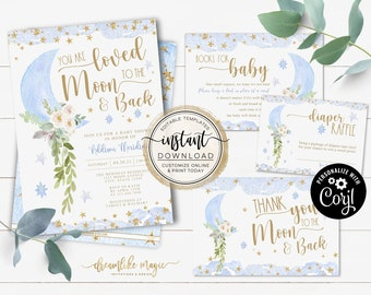 Love You to the Moon and Back Baby Shower Invitation, Over the Moon Baby Shower Invite Template, Instant Download, Editable Baby Boy Shower