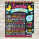 1st Birthday Chalkboard, Digital File, Birthday Stats Photo Prop, Personalized Poster, Rubber Duck, Pink, Bubbles, Duckie, Duck, Yellow Duck