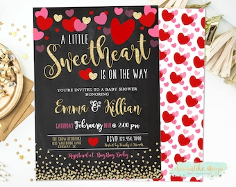 Little Sweetheart Baby Shower Invitation Valentines Day Baby Etsy