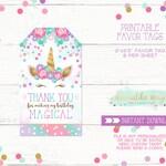 Unicorn Thank You Tag, Unicorn Party Favor Tag, Unicorn Favor Tag, Unicorn Birthday Favor Tag, Magical Birthday Favor Tag, Printable Tag