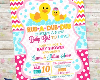 Duck baby shower etsy rub a dub dub baby shower baby girl invite rubber duckie baby shower bubbles duck invitation printable diy rubber duck baby shower filmwisefo