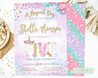 5th birthday invite etsy unicorn 5th birthday invite five unicorn fifth birthday invitation unicorn party invitation magical invitation printable invite filmwisefo