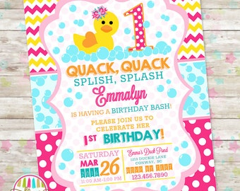 Duck invitation etsy rubber duck duckie birthday duck birthday pink rubber duck birthday printable invite birthday invitation splish splash pool bash diy stopboris Image collections