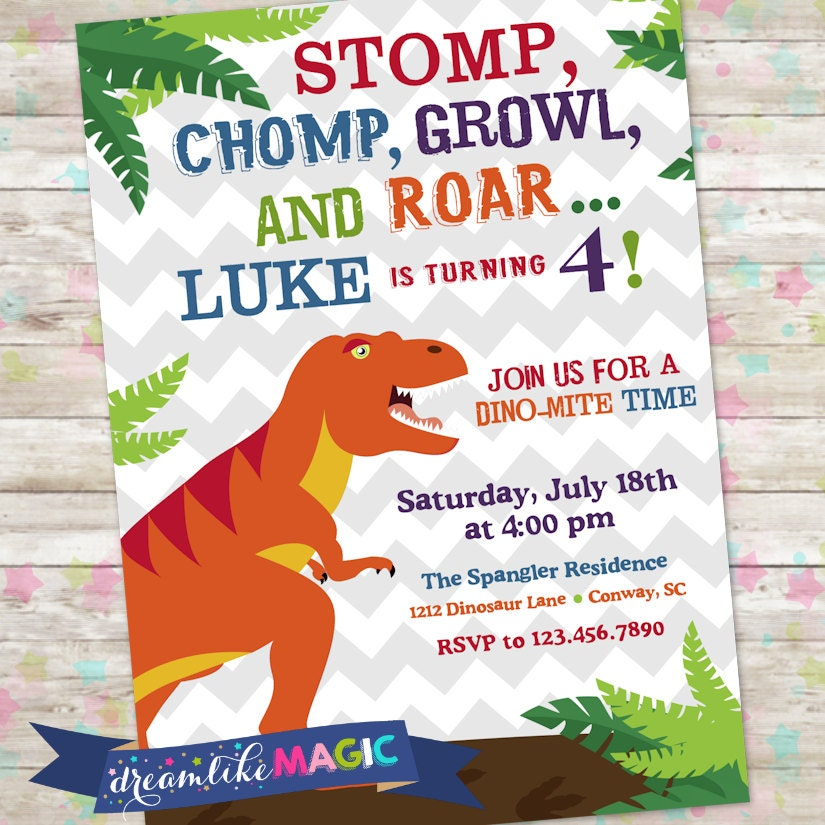 Dinosaur Invite Dino Birthday Party TRex Stomp Chomp Growl And Roar Printable T Rex