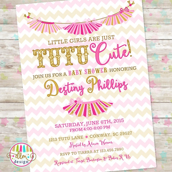 Tutu cute invite pink and gold baby girl shower little etsy image 0 filmwisefo