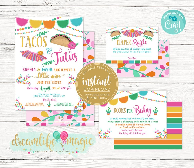 Tacos and Tutus Baby Girl Fiesta Spanish Mexican Themed image 0