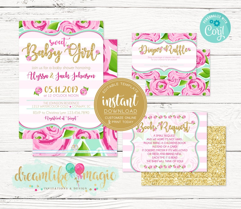 EDITABLE Pink Floral Baby Shower Invitation Template image 0