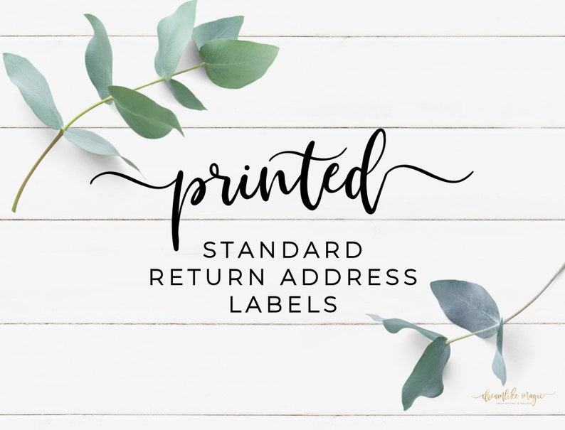 PRINTED Standard Return Address Labels Label printing image 0