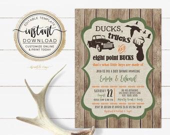 Ducks Trucks and Bucks, BABY BOY Shower Invitation, Camo Hunting Deer Baby Sprinkle Invite, Printable Editable Template, Rustic Southern
