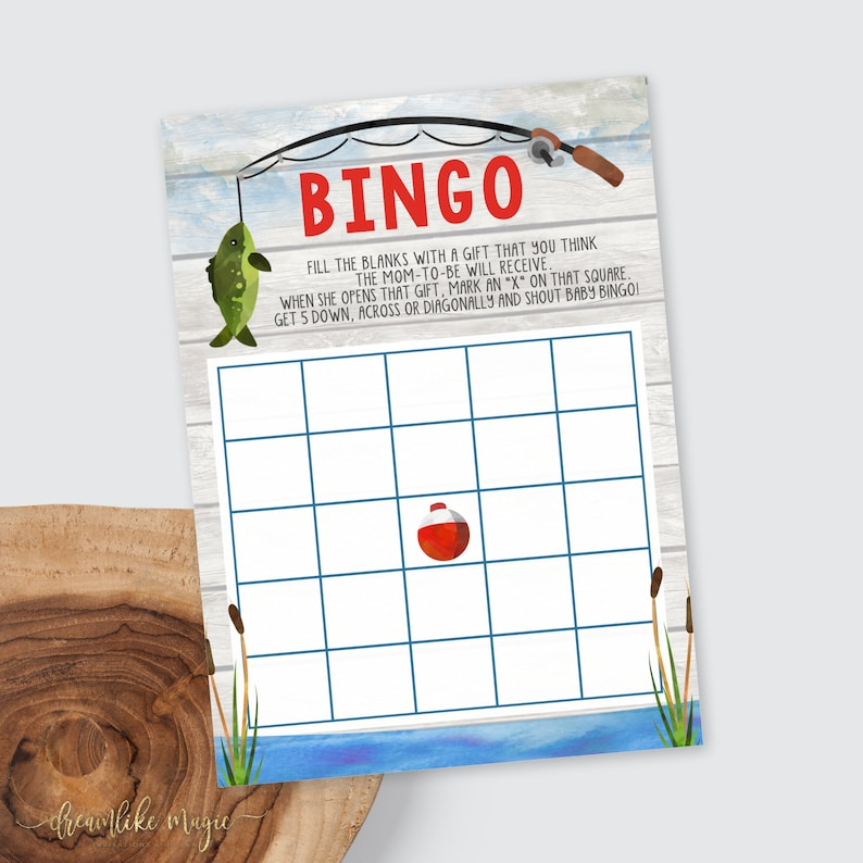Fishing Baby Shower Printable Bingo Card Shower Games Gone image 0