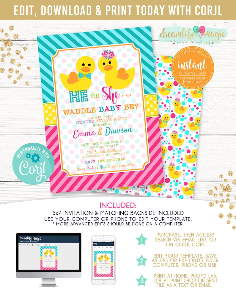 Waddle It Be Duck Gender Reveal Invite He or She Rubber image 0
