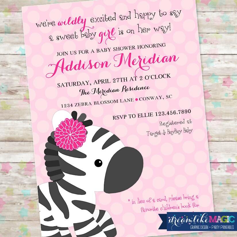 Zebra baby shower girl baby shower zebra invite invitation etsy zoom filmwisefo