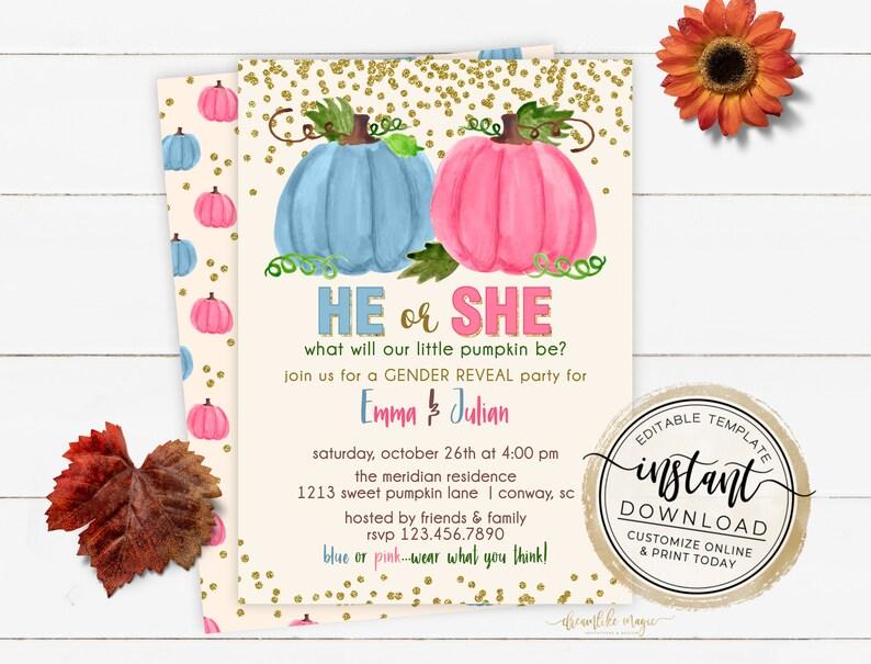 Little Pumpkin Gender Reveal Invitation Fall Gender Reveal image 0