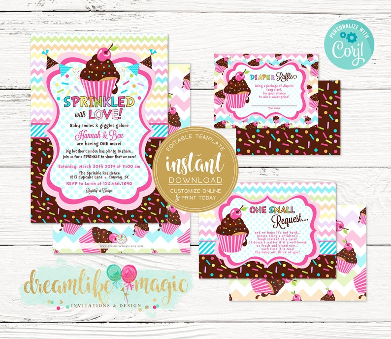 Sprinkled with Love Invitation Baby Girl Shower Colorful image 0