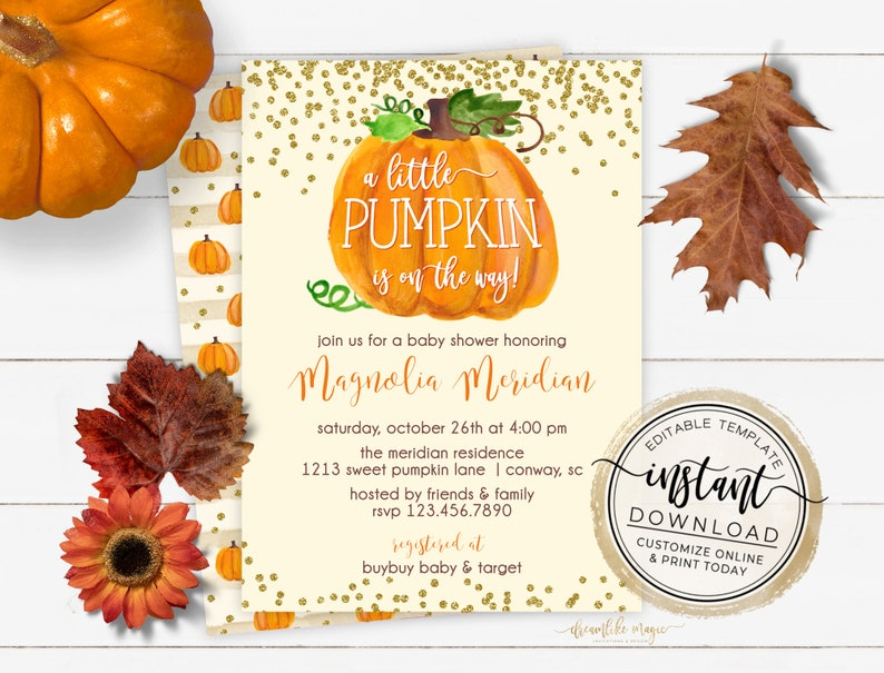 Gender Neutral Pumpkin Baby Shower Invitation Fall Baby image 0