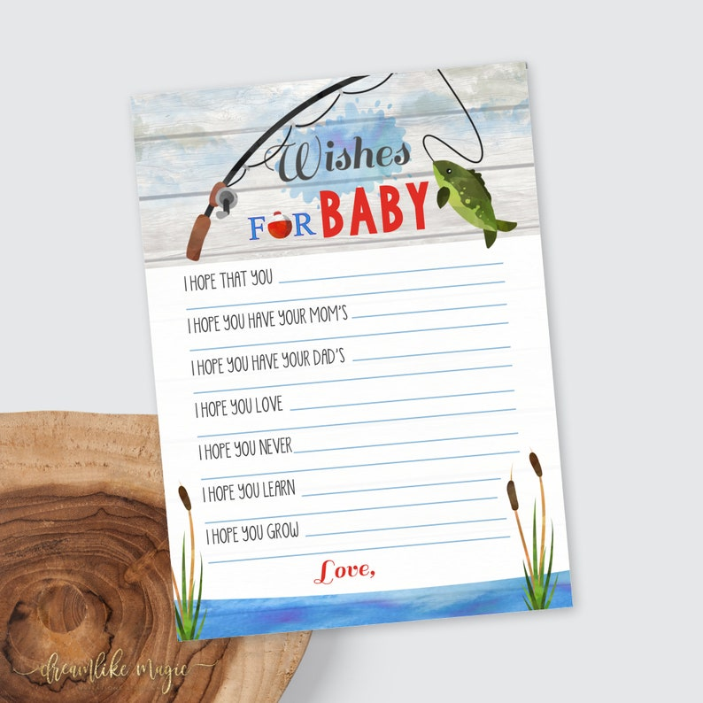 Fishing Baby Shower Printable Wishes for Baby Card Shower image 0