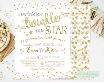 Twinkle Twinkle Little Star Baby Shower Invitation, Gender Neutral Invitation, Little Star Baby Shower Invite, Gold Silver, Twinkle Shower