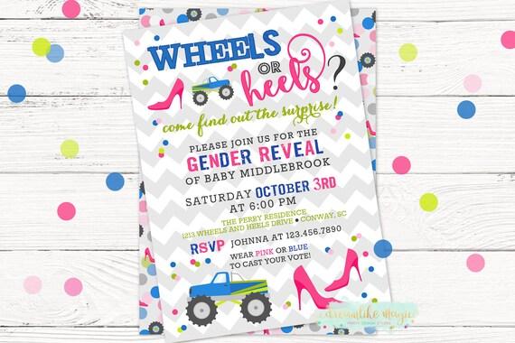 wheels or heels gender reveal invite gender reveal etsy