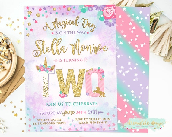 Unicorn 2nd Birthday Invite Second