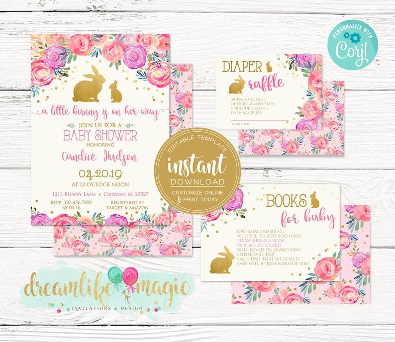 Editable Baby Shower Invitation Set Floral Little Bunny image 0