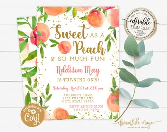 Peach First Birthday Invitation, Sweet as a Peach Girl First Birthday Watercolor Birthday Invitation, First Birthday Peaches Editable Invite