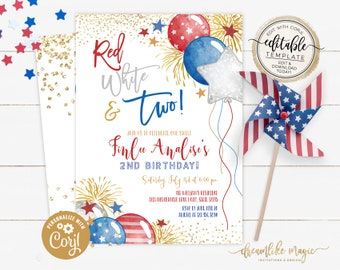 Red White and Two, 2nd Birthday Invitation, 4th of July Invite, Independence Day Birthday Editable Invitation, 4th July Party Two Birthday