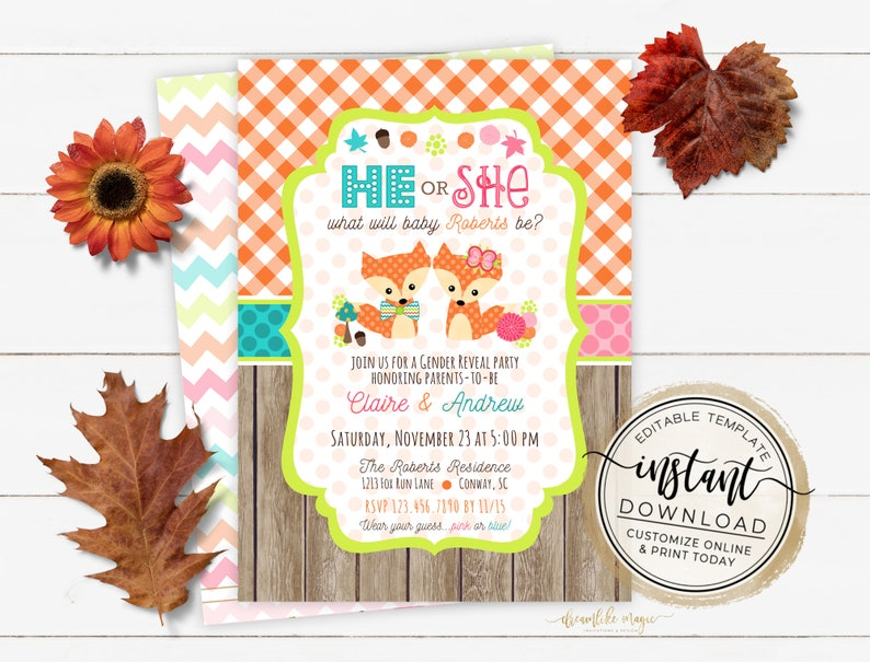 Fox Gender Reveal Invitation Fall Gender Reveal Editable image 0