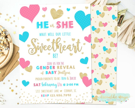 Heart Gender Reveal Invitation Valentines Gender Reveal Invitation