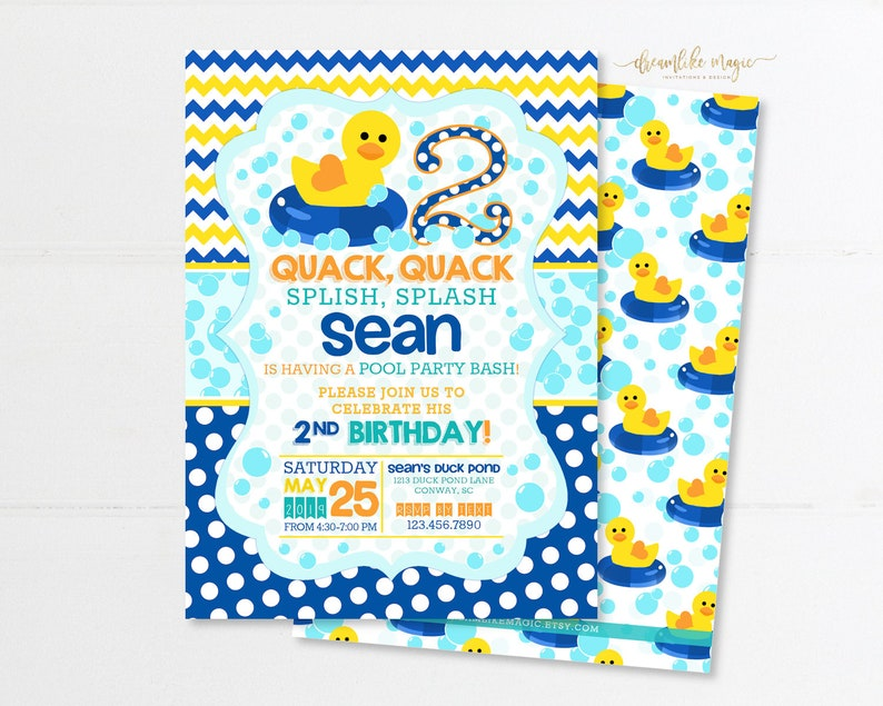 Rubber Duckie Birthday Pool Party Invitation Rubber Ducks image 0